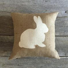 Burlap Rabbit Pillow    This adorable burlap bunny silhouette is the perfect addition for your spring, Easter decorating DETAILS: • This pillow was