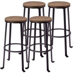 Retro 30.2 in. Light Brown Bar Stools (Set of 4)