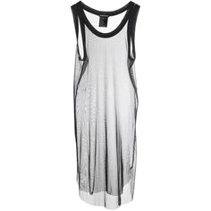 Ann Demeulemeester Women's Silk Sheer Tank (£83) ❤ liked on Polyvore featuring tops, dresses, shirts, tank tops, tanks, sheer tank, sheer top, black white shirt, slit shirt and ribbed tank
