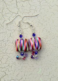 Bright pink candy striped earrings boho pink and by wilywolverine