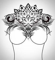 Chest Neck Tattoo, Mandala Chest Tattoo, Geometric Mandala Tattoo, Chest Piece Tattoos, Geometric Tattoo Design, Mandala Tattoo Design, Tatoo Art, Body Art Tattoos, Hand Tattoos