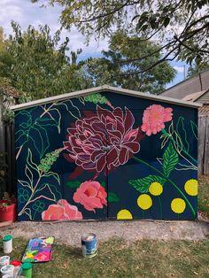 Backyard Projects, Outdoor Projects, Art Projects, Murals Street Art, Garden Mural, Garden Art, Palette Verte, Flower Mural, Diy Wall Painting