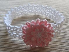 Number 85 Crochet PDF Pattern White Lacy Headband with a PInk Flower. $2.30, via Etsy.
