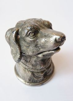 Antique Silver Plated Hunting Dog Inkwell by MaisonDogLondon