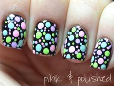 Crazy Dots Nails. #neon #nail art http://www.ivillage.com/easter-nail-art-nail-designs/5-a-526787#