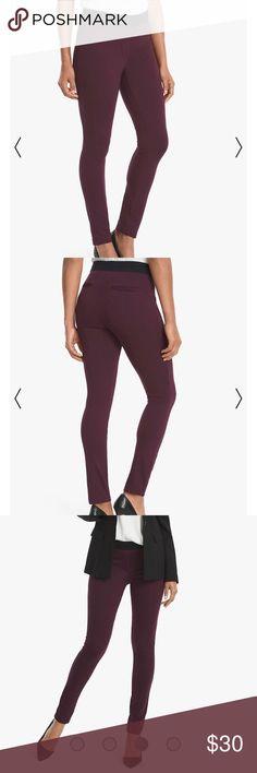 White House black market body comfort pants Worn once , burgundy size 4 . See description above White House Black Market Pants Skinny
