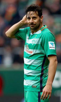 Claudio Pizarro of Bremen reacts during the Bundesliga match between Werder Bremen and RB Leipzig at Weserstadion on March 18, 2017 in Bremen, Germany.