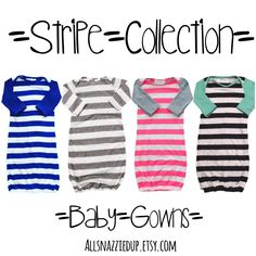 Stripe collection of super soft baby gowns