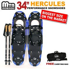 New MTN 34 blue WP All Terrian Snowshoes Nordic Pole Free Carrying Bag *** Click on the image for additional details. This is an Amazon Affiliate links.