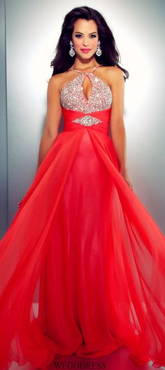 734256682bb Mac Duggal 2013 Prom Dresses - Hot Coral Chiffon Halter Gown with  Embellishments