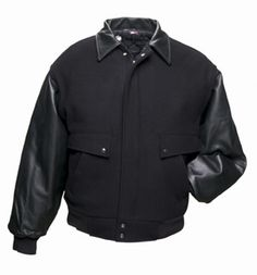 Wool Leather Jacket Made in USA via BuYDirectUSA.com