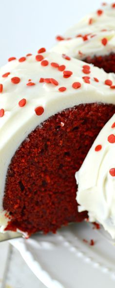 Red Velvet Bundt Cake from Scratch! This cake is amazing. Tender, moist, with just the right amount of chocolate! And it's of course covered in a wonderful cream cheese frosting!