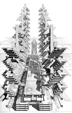 Paul Rudolph, Robert Moses  Lower Manhattan Expressway Project Proposed (not built), 1963 *Epcott Center Infrastructure *Dense, Modern, but Scary