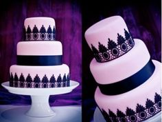 Wedding Cake Black and Pink