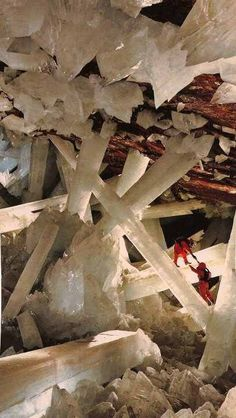 Giant selenite crystals (gypsum, CaSO4·2 H2O) Monoclinic, H=2, colourless-white, transparent crystals, thick tabular to lenticular, sometimes prismatic. (Satin Spar is fibrous, Alabaster is fine-grained massive form) From Cave of the Crystals, is a cave connected to Naica Mine in Naica, Chihuahua, Mexico.