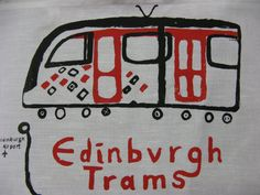 Edinburgh Trams Tea Towel - Hand screenprinted Cotton teatowel of an Edinburgh tram & the stops and stations along the route Edinburgh City Centre, Travel Gifts, Me On A Map, 2 Colours, Black Fabric, Tea Towels, Screen Printing, Cool Stuff, How To Make