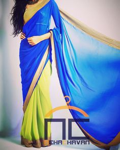 A color play! Get this beautiful color block georgette saree in royal blue and leaf green color edged with gold sequin border. This product can be customise at per requirements! Email us at fashion@nehachavan.com or drop in your email id in the comment below and we will get back to you soon. We deliver worldwide.  #NC #NehaChavan #designerwear #designersari #fashion #saris #colorblock #blue #green #tradionalwear #festivewear #imdianwear #womenswear #fashionatyourdoorstep #tagsforlikes…
