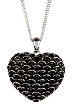 Black Diamond Textured Heart Pendant Necklace