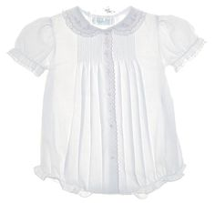 NEW Feltman Brothers White Baby Bubble with Pintucks and Pink Embroidery $50.00