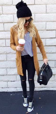 #winter #outfits women's black knit cap. Click To Shop This Look.