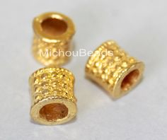 5 Bright GOLD 8mm TUBE Beads - 8X8mm Tibetan Style Large 4.5mm Hole Boho Metal Barrel Spacer European Beads - USA Wholesale - 5725