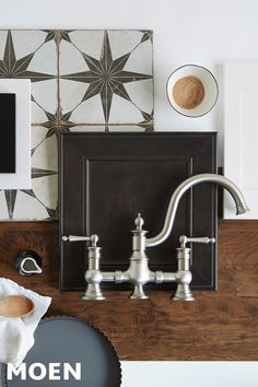 The classic style of our Waterhill faucet blends seamlessly with vintage tiles and rich woods. The classic style of our Waterhill faucet blends seamlessly with vintage tiles and rich woods. Kitchen Redo, Kitchen And Bath, New Kitchen, Kitchen Remodel, Kitchen Design, Moodboard Interior, Vintage Tile, Kitchen Furniture, Furniture Cleaning