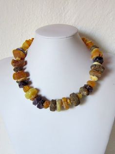 Necklace - Baltic amber, ametyst and sterling silver