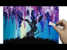 Wisteria Willow Tree Q Tip Painting Technique For Beginners Easy Acrylic Painting Simple Acrylic Paintings, Acrylic Painting Canvas, Canvas Art, Canvas Ideas, Tree Canvas Paintings, Painting Abstract, Abstract Landscape, Acrilic Paintings, Wall Paintings