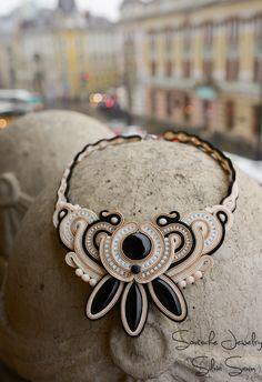 Beige/Ivory/Black Soutache necklace with onyx petals
