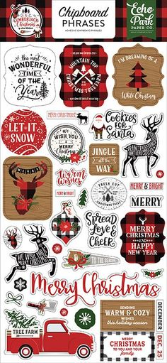 Echo Park A Lumberjack Christmas Phrases Chipboard Stickers