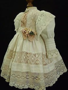 Antique French Muslin BEBE Dress for your JUMEAU STEINER Doll