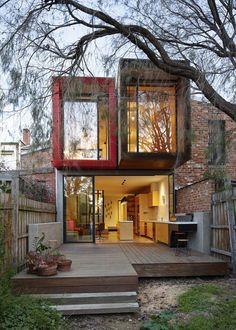 container home - not so small, but love the configuration of the containers.