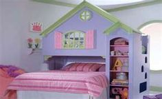 This is an awesome bunk bed for 2 girls!  (I have this bed and repainted it white with brown trim leaving the pink shutters.  I will be posting it on craigslist for sale soon  - Kelly Lim)