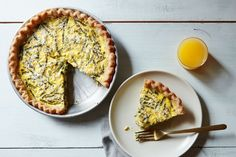 Asparagus, Leek, and Ricotta Quiche recipe on Food52  ** try adding sun dried tomatoes or add pesto and Parmesan to ricotta before spooning on asparagus