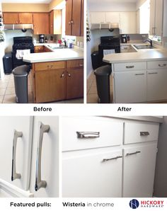 Kitchen renovation: Oak cabinets painted white with new Wisteria pulls from Hickory Hardware.