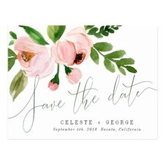 #savethedate #postcards - #CELEBRATE WATERCOLOR SAVE THE DATE POSTCARD