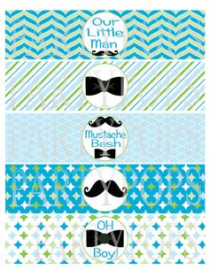 Little Man Party Printable Mustache Bow Tie Water by PartyPops Little Man Party, Little Man Birthday, First Birthday Decorations, Baby Shower Decorations, 1st Birthday Parties, Free Printable Invitations Templates, Party Printables, Bow Tie Napkins, Baby Shower Niño