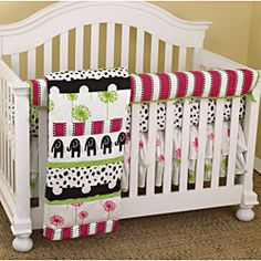 @Overstock.com - Cotton Tale Hottsie Dottsie 4-piece Crib Bedding Set - Black elephants with hot pink and green accents adorn this Hottsie Dottsie Front Crib Rail Cover Up Set that includes a fitted crib sheet, dust ruffle, coverlet and front crib rail cover up. The front cover up measures 51 inches x 15 inches.  http://www.overstock.com/Baby/Cotton-Tale-Hottsie-Dottsie-4-piece-Crib-Bedding-Set/6857185/product.html?CID=214117 $134.99