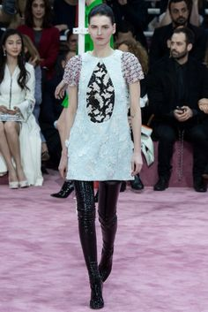 Vinyl boots caused a scene at the Dior Couture Spring 2015 show.