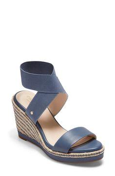 Enjoy exclusive for Cole Haan Cloudfeel Espadrille Wedge Sandal (Women) online - Toplikeclothes Blue Espadrilles, Leather Espadrilles, Leather Sandals, Gold Ankle Strap Heels, Suede Heels, Open Toe Sandals, Wedge Sandals, Espadrille Wedge, Designer Sandals