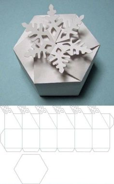 Free cutting file: Snowflake twist top Box - from Carol at Extreme Cards & Paper. Free cutting file: Snowflake twist top Box - from Carol at Extreme Cards & Papercrafting (in PDF, DXF, GSD & SVG) Diy Paper, Paper Crafting, Paper Art, Free Paper, Origami Paper, Diy Gift Box, Diy Gifts, Gift Boxes, Snowflake Craft