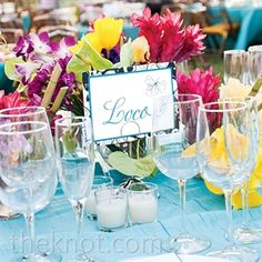 Beach Wedding Idea: Tropical Table Decor and Glassware via the Knot | Book Your Dream Beach Wedding at the Resorts of Pelican Beach in Destin, FL