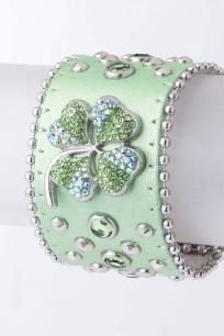 Mint Green Jewel Crystal Studded Shamrock Genuine Leather Bracelet :D Mint Blue, Mint Color, Aqua, Irish Girls, Irish Jewelry, Green Fashion, St Patricks Day, St Pattys, Shades Of Green