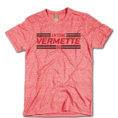 Antoine Vermette Officially Licensed NHLPA Chicago T-shirt Unisex XS-2XL Antoine Vermette Striped Black Font