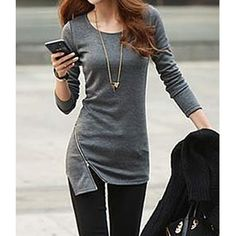 Rose Wholesale - Simple Style Solid Color Zipper Embellished Cotton Slimming Long Sleeve T-shirt For Women