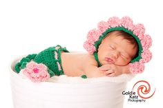 Crochet Newborn Baby Flower Hat & Diaper Cover Earflaps by PamKR, $40.00