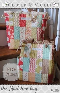 pdf sewing pattern This lovely diaper bag is all sweetness and charm (charm squares that is). It features a lovely quilted front and back and a side gusset out of a coordinating fabric. Sewing Projects For Beginners, Easy Projects, Baby Patchwork Quilt, Baby Quilts, Custom Pencils, Coordinating Fabrics, Love Sewing, Mug Rugs, Pdf Sewing Patterns