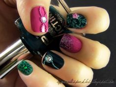 Pink, emerald & black nails by emeraldsparkled