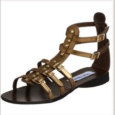 Steve Madden bronze gladiator sandals Super cute gladiator! Size 7. This particular style of sandal wore like this on sole with discoloration and peeling. I've seen others with same wear. Other than that, in good used condition. Steve Madden Shoes Sandals