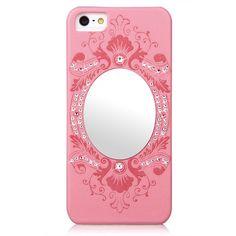 Swarovski Elements Crystal Leather Mirror Case for iPhone 5 & 5S - Pink Elegant, Elegant & Sumptuous